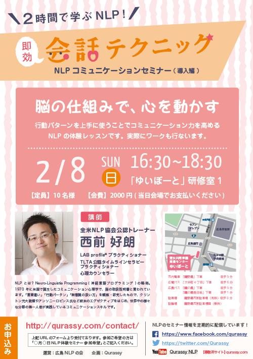 NLP広島 体験コミュニケーションセミナー 即効会話テクニック 2014年1月18日 講師全米NLP協会公認トレーナー西前好朗
